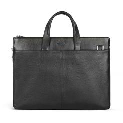 Итальянская мужская сумка из натуральной кожи черного цвета под документы и ноутбук от Avanzo Daziaro, арт. 018 050001