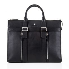 Стильная деловая сумка с двумя отделениями из натуральной черной кожи от Backster, арт. 12041 black