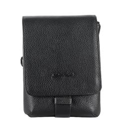 Маленькая мужская сумка из черной натуральной кожи с удобным плечевым ремнем. от Barkli, арт. 318 03 black Br
