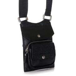 Маленькая мужская сумка из натуральной кожи черного цвета с одним отделением от Barkli, арт. 9000-1 03 black Br