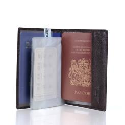 Стильная кожаная обложка для документов и пластиковых карт от Barkli, арт. 00018-5 coffee Br