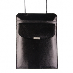Нагрудный выдвигающийся из футляра кошелек, натуральная черная кожа от Barkli, арт. 00026-5 black Br