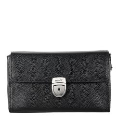 Стильная мужская барсетка из натуральной кожи черного цвета с замком на ключ от Barkli, арт. 0208 03 black Br
