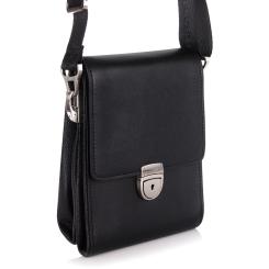 Небольшая мужская сумка через плечо из черной натуральной кожи от Barkli, арт. 0222 07/03 black Br