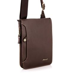 Удобная и компактная кожаная сумка планшет с регулируемым плечевым ремнем от Barkli, арт. 236-2 02 rosolare Br
