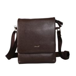 Стильная маленькая мужская сумка через плечо из натуральной кожи от Barkli, арт. 246 02 coffee Br