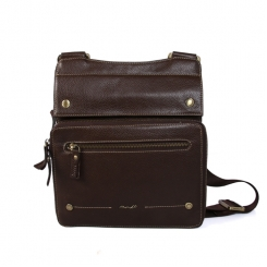 Кожаная мужская кожаная сумка планшет с длинным плечевым ремнем от Barkli, арт. 247 02 coffee Br