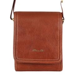 Маленькая мужская кожаная сумка через плечо с одним отделением от Barkli, арт. 256 01 brown Br