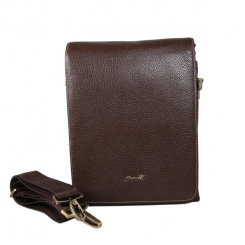 Удобная маленькая мужская сумка через плечо из натуральной кожи от Barkli, арт. 270-2 02 coffee Br