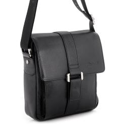 Маленькая мужская сумка через плечо  из натуральной кожи с одним отделением от Barkli, арт. 288 03 nero Br