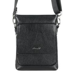 Маленькая мужская кожаная сумка через плечо с одним отделением от Barkli, арт. 300 03 black Br