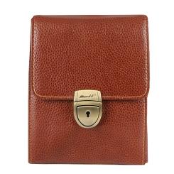 Модная мужская сумка маленького размера из натуральной кожи коричневого цвета от Barkli, арт. 303 01 brown