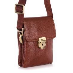 Небольшая сумка мужская из натуральной кожи на длинном плечевом ремне от Barkli, арт. 306 01 brown Br