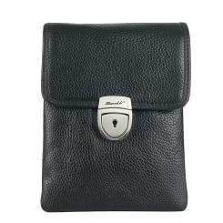 Маленькая мужская сумка через плечо из натуральной кожи черного цвета от Barkli, арт. 306 03 black Br