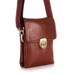 Маленькая мужская сумка из натуральной кожи с длинным плечевым ремнем от Barkli, арт. 307 01 brown Br