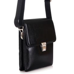 Модная маленькая мужская сумка через плечо из натуральной кожи от Barkli, арт. 308 03 black Br