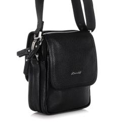 Маленькая мужская сумка для документов из натуральной кожи черного цвета от Barkli, арт. 312 03 black Br
