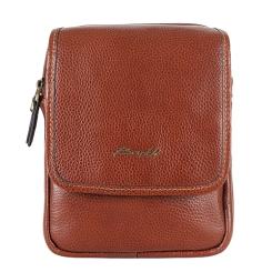 Коричневая мужская сумка через плечо, выполнена из натуральной кожи  от Barkli, арт. 313 01 brown Br