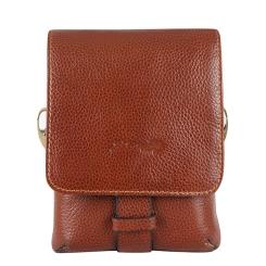 Маленькая мужская кожаная сумка через плечо с двумя отделениями от Barkli, арт. 318 01 brown Br