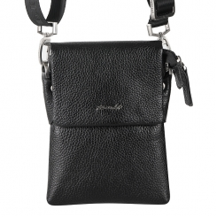 Маленькая мужская кожаная сумка через плечо с одним отделением от Barkli, арт. 3419 03 black Br