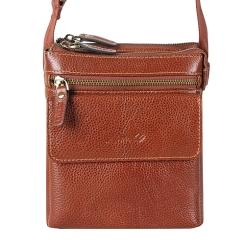 Красивая маленькая мужская сумка через плечо из натуральной кожи от Barkli, арт. 3421 01 brown Br