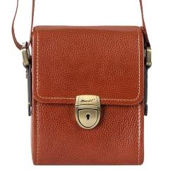 Маленькая мужская сумка через плечо из натуральной кожи коньячного цвета от Barkli, арт. 3422A 01 brown Br