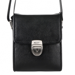 Модная мужская сумка небольшого размера из натуральной кожи черного цвета от Barkli, арт. 3422A 03 black Br