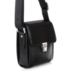Маленькая мужская сумка из натуральной кожи с одним отделением от Barkli, арт. 3423A 03 black Br