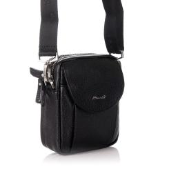 Маленькая мужская сумка для документов из натуральной кожи черного цвета от Barkli, арт. 3425 03 black Br