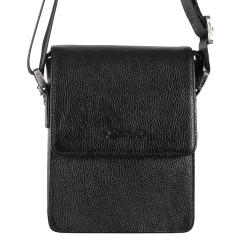 Маленькая мужская кожаная сумка с одним отделением и регулируемым плечевым ремнем от Barkli, арт. 3430 03 black Br
