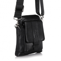 Маленькая мужская сумка через плечо из натуральной кожи с одним отделением от Barkli, арт. 3431 03 black Br