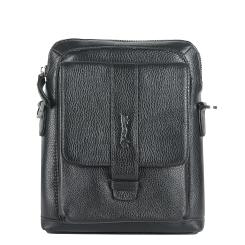 Стильная мужская кожаная сумка через плечо с одним вместительным отделением от Barkli, арт. 3432 03 black Br