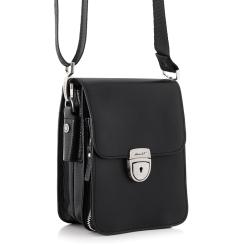 Стильная маленькая мужская сумка из натуральной кожи с одним отделением от Barkli, арт. 3434 07/03 black Br
