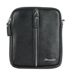 Маленькая мужская сумка через плечо из рельефной натуральной кожи от Barkli, арт. 3438 03 black Br