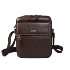 Маленькая кожаная мужская сумка через плечо из натуральной кожи от Barkli, арт. 504 02 coffee Br
