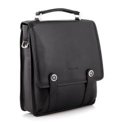 Классическая маленькая мужская сумка через плечо с эффектной застежкой от Barkli, арт. 257 03 nero Br
