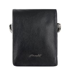 Мужская кожаная сумка через плечо маленького размера с широким клапаном от Barkli, арт. 270-1 03 black Br