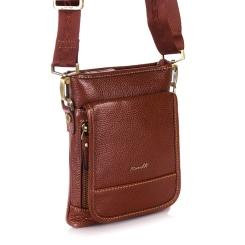 Маленькая мужская сумка из натуральной кожи стильного коньячного цвета от Barkli, арт. 300 01 brown Br