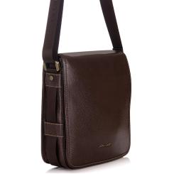 Мужская маленькая сумка из натуральной кожи с широким клапаном на кнопке от Barkli, арт. 3232 02 coffee Br