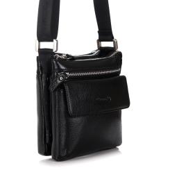 Небольшая мужская сумка из мелкозернистой черной кожи от Barkli, арт. 3421 03 black Br