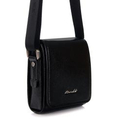 Мужская маленькая сумка из черной кожи с одним внутренним отделением от Barkli, арт. 3422B 03 black Br