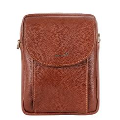 Маленькая кожаная мужская сумка через плечо красивого коньячного цвета от Barkli, арт. 3426 01 brown Br