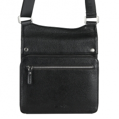Мужская кожаная сумка планшет с оригинальным креплением плечевого ремня от Barkli, арт. 9000-4 03 black Br