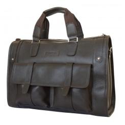 Мужская дорожная сумка с удобными карманами из темно коричневой натуральной кожи от Carlo Gattini, арт. 4001-04