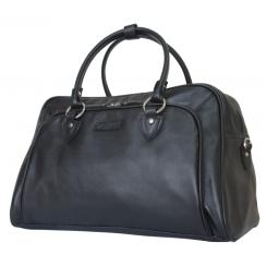 Просторная классическая мужская дорожная сумка из натуральной кожи черного цвета от Carlo Gattini, арт. 4005-01