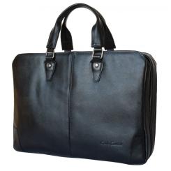 Мужская сумка из черной натуральной кожи в деловом стиле под документы и средний ноутбук от Carlo Gattini, арт. 1002-01