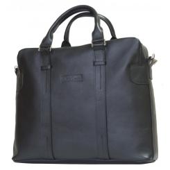 Мужская кожаная сумка черного цвета в деловом стиле под документы и ноутбук 15.6 и 17.3 от Carlo Gattini, арт. 1003-01