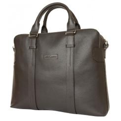Мужская деловая сумка большого размера из натуральной кожи темно-коричневого цвета от Carlo Gattini, арт. 1003-04