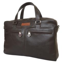 Коричневая мужская кожаная сумка в деловом стиле для ноутбука и бумаг формата А4 от Carlo Gattini, арт. 5003-04