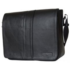 Кожаная мужская сумка через плечо черного цвета в классическом стиле от Carlo Gattini, арт. 5007-01